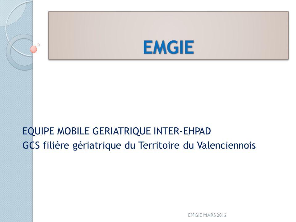 EQUIPE MOBILE GERIATRIQUE INTER-EHPAD GCS filière gériatrique du Territoire du Valenciennois EMGIE MARS 2012