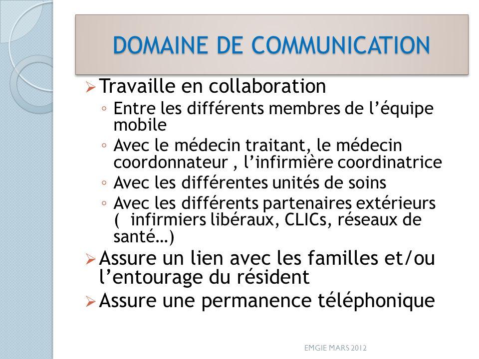 DOMAINE DE COMMUNICATION Travaille en collaboration Entre les différents membres de léquipe mobile Avec le médecin traitant, le médecin coordonnateur,