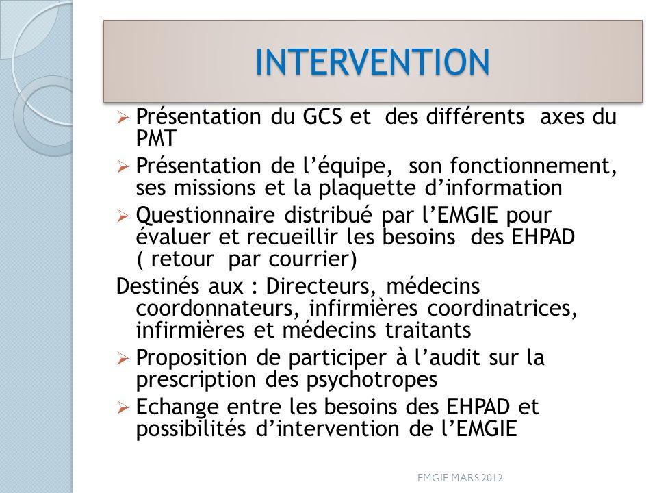 INTERVENTIONINTERVENTION Présentation du GCS et des différents axes du PMT Présentation de léquipe, son fonctionnement, ses missions et la plaquette d