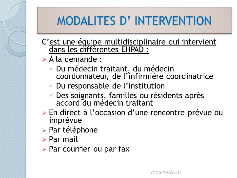MODALITES D INTERVENTION Cest une équipe multidisciplinaire qui intervient dans les différentes EHPAD : A la demande : Du médecin traitant, du médecin