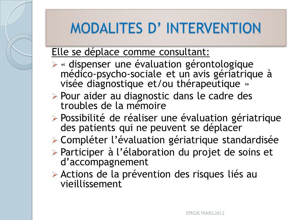 MODALITES D INTERVENTION Elle se déplace comme consultant: « dispenser une évaluation gérontologique médico-psycho-sociale et un avis gériatrique à vi