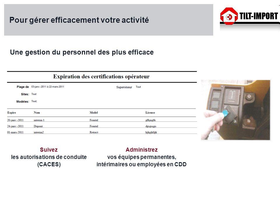 Pour gérer efficacement votre activité Une gestion du personnel des plus efficace Suivez les autorisations de conduite (CACES) Administrez vos équipes