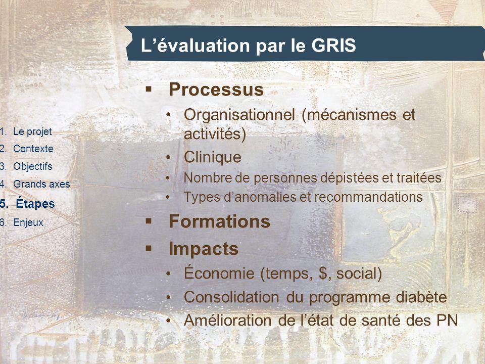 Lévaluation par le GRIS 1. Le projet 2. Contexte 3. Objectifs 4. Grands axes 5. Étapes 6. Enjeux Processus Organisationnel (mécanismes et activités) C