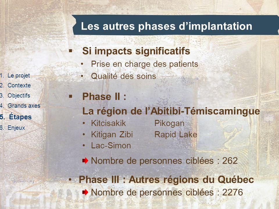 Les autres phases dimplantation 1. Le projet 2. Contexte 3. Objectifs 4. Grands axes 5. Étapes 6. Enjeux Si impacts significatifs Prise en charge des