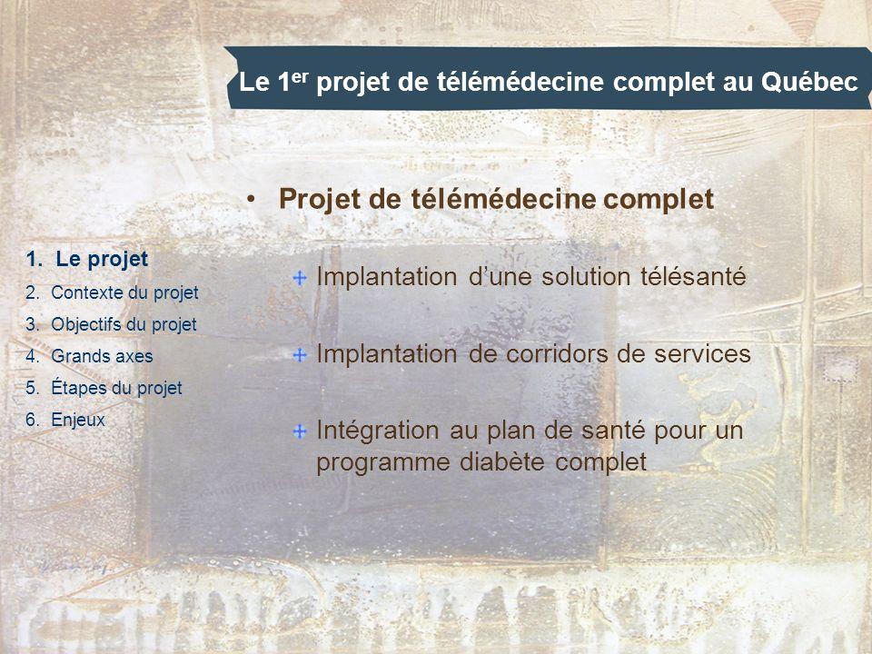 Le 1 er projet de télémédecine complet au Québec 1. Le projet 2. Contexte du projet 3. Objectifs du projet 4. Grands axes 5. Étapes du projet 6. Enjeu