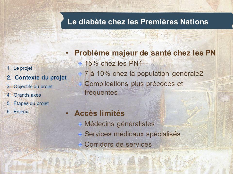 Le diabète chez les Premières Nations 1. Le projet 2. Contexte du projet 3. Objectifs du projet 4. Grands axes 5. Étapes du projet 6. Enjeux Problème