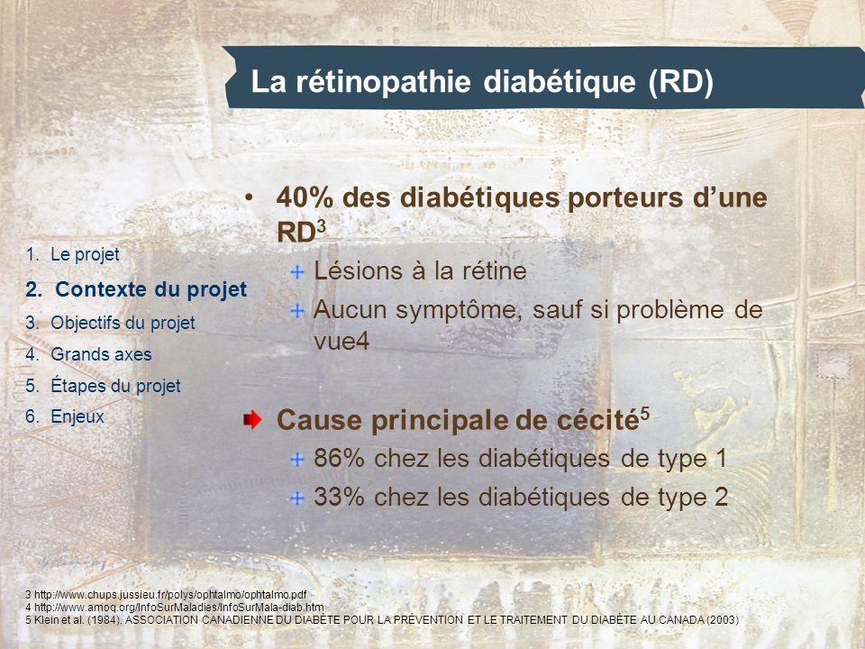La rétinopathie diabétique (RD) 1. Le projet 2. Contexte du projet 3. Objectifs du projet 4. Grands axes 5. Étapes du projet 6. Enjeux 40% des diabéti