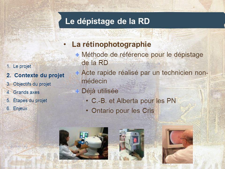 Le dépistage de la RD 1. Le projet 2. Contexte du projet 3. Objectifs du projet 4. Grands axes 5. Étapes du projet 6. Enjeux La rétinophotographie Mét