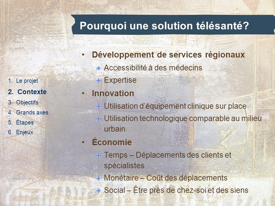 Pourquoi une solution télésanté? 1. Le projet 2. Contexte 3. Objectifs 4. Grands axes 5. Étapes 6. Enjeux Développement de services régionaux Accessib