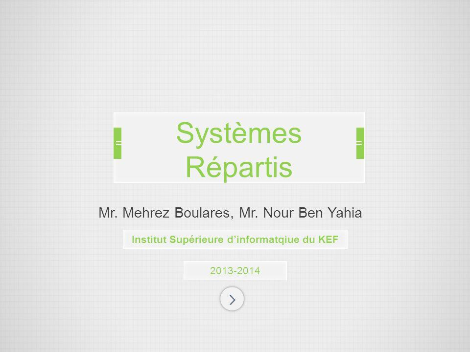 Mr. Mehrez Boulares, Mr. Nour Ben Yahia 2013-2014 Systèmes Répartis Institut Supérieure dinformatqiue du KEF