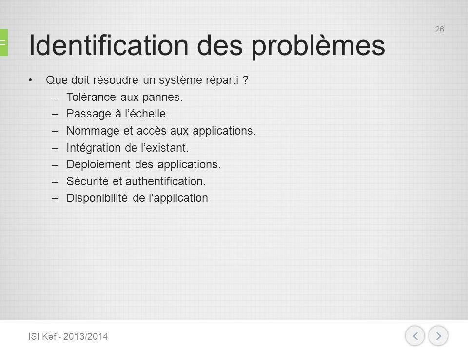 Identification des problèmes Que doit résoudre un système réparti ? –Tolérance aux pannes. –Passage à léchelle. –Nommage et accès aux applications. –I