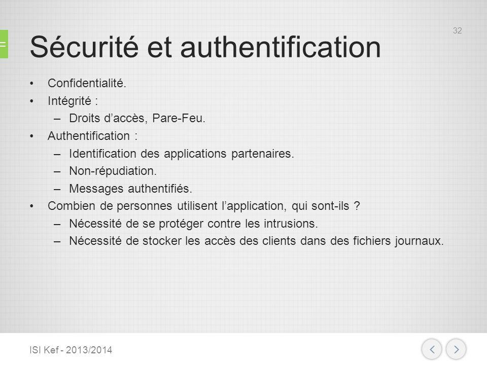 Sécurité et authentification Confidentialité. Intégrité : –Droits daccès, Pare-Feu. Authentification : –Identification des applications partenaires. –