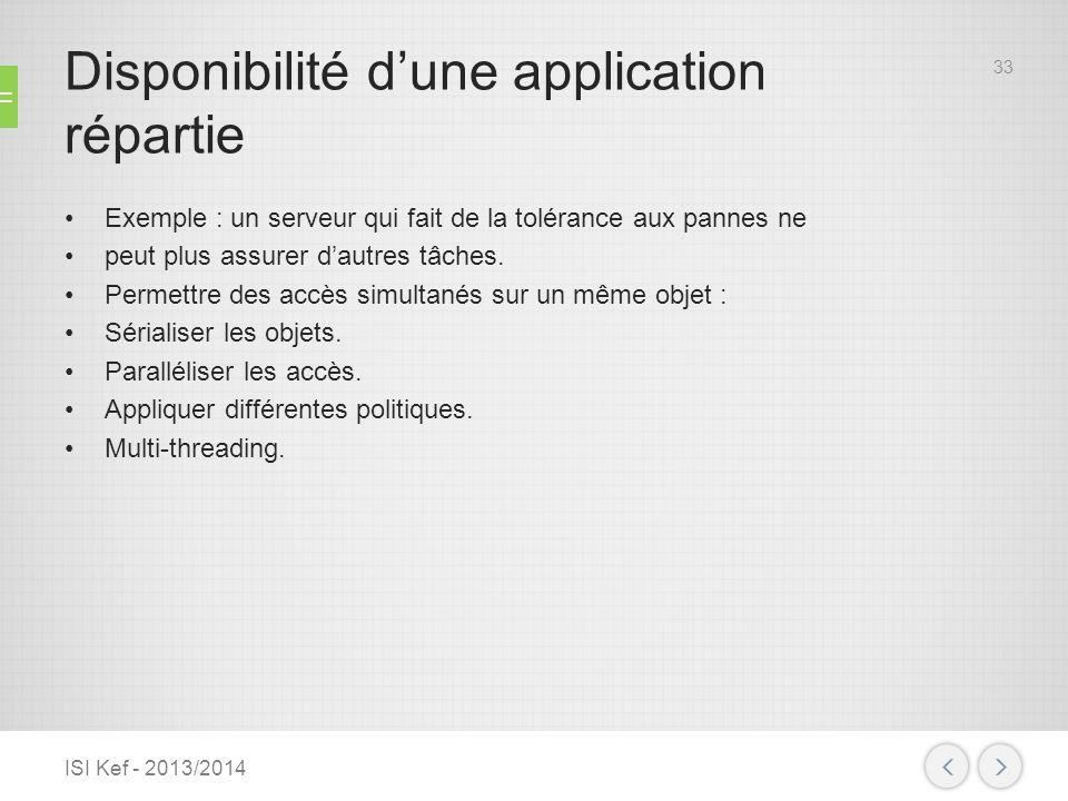 Disponibilité dune application répartie Exemple : un serveur qui fait de la tolérance aux pannes ne peut plus assurer dautres tâches. Permettre des ac