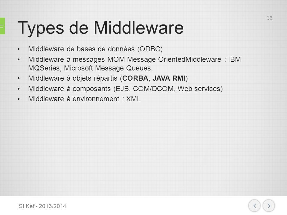 Types de Middleware Middleware de bases de données (ODBC) Middleware à messages MOM Message OrientedMiddleware : IBM MQSeries, Microsoft Message Queue