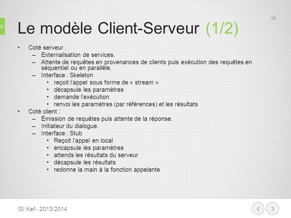 Le modèle Client-Serveur (1/2) Coté serveur : –Externalisation de services. –Attente de requêtes en provenances de clients puis exécution des requêtes