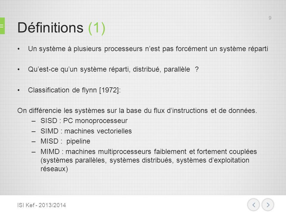 Définitions (1) Un système à plusieurs processeurs nest pas forcément un système réparti Quest-ce quun système réparti, distribué, parallèle ? Classif