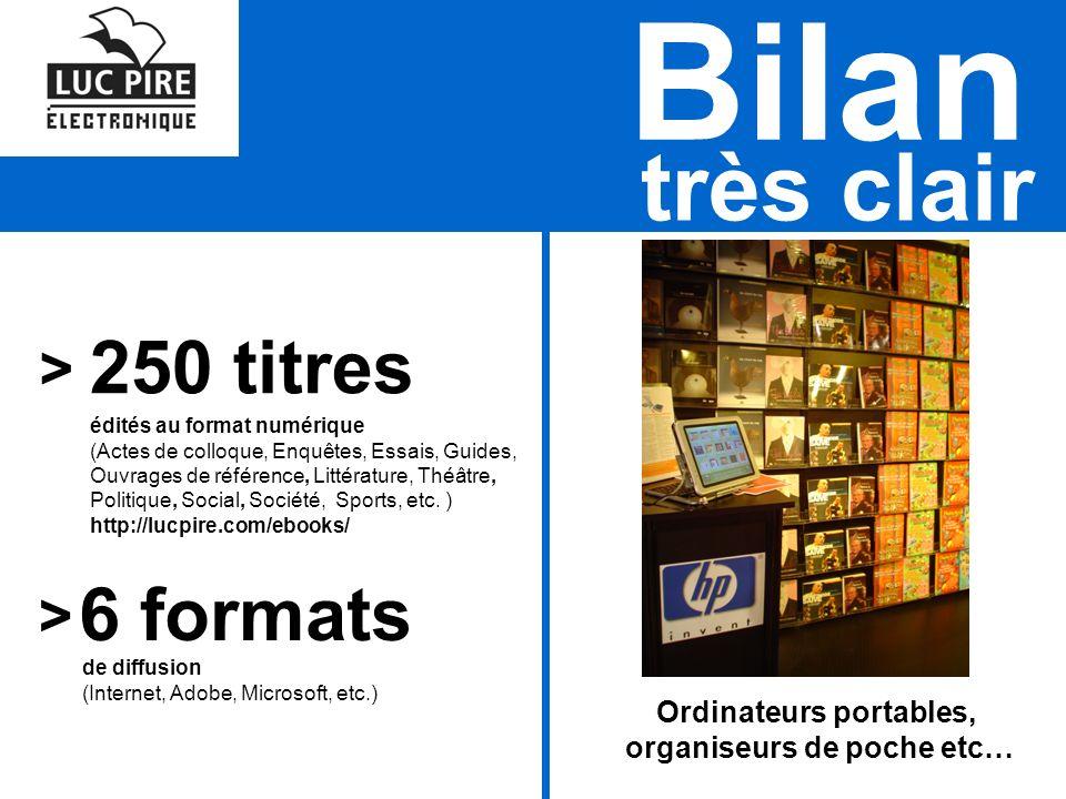 très clair Bilan 250 titres édités au format numérique (Actes de colloque, Enquêtes, Essais, Guides, Ouvrages de référence, Littérature, Théâtre, Politique, Social, Société, Sports, etc.