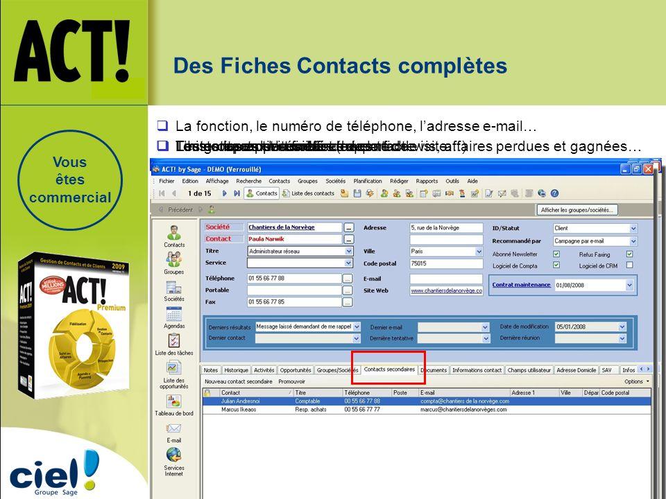 Les notes sur le contact (rapport de visite…) Lhistorique de la fiche… Toutes les activités effectuées… Toutes les opportunités de vente : devis, affa