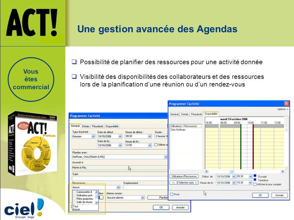 Visibilité des disponibilités des collaborateurs et des ressources lors de la planification dune réunion ou dun rendez-vous Possibilité de planifier d