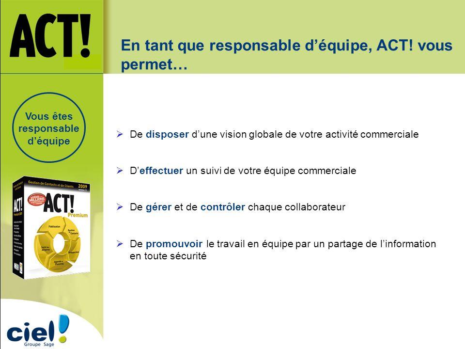 En tant que responsable déquipe, ACT! vous permet… De disposer dune vision globale de votre activité commerciale Deffectuer un suivi de votre équipe c