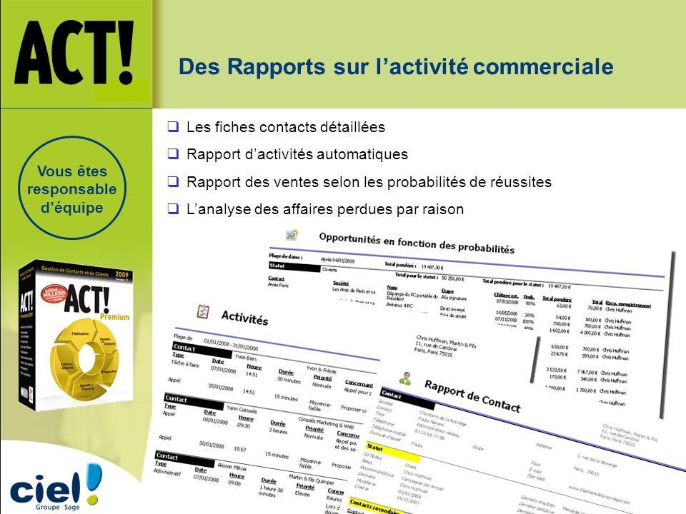Des Rapports sur lactivité commerciale Les fiches contacts détaillées Rapport dactivités automatiques Rapport des ventes selon les probabilités de réu