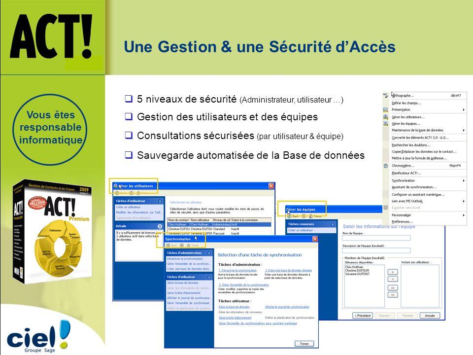 Une Gestion & une Sécurité dAccès Consultations sécurisées (par utilisateur & équipe) Gestion des utilisateurs et des équipes 5 niveaux de sécurité (A