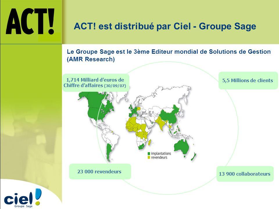 ACT! est distribué par Ciel - Groupe Sage 1,714 Milliard deuros de Chiffre daffaires (30/09/07) 5,5 Millions de clients 13 900 collaborateurs 23 000 r