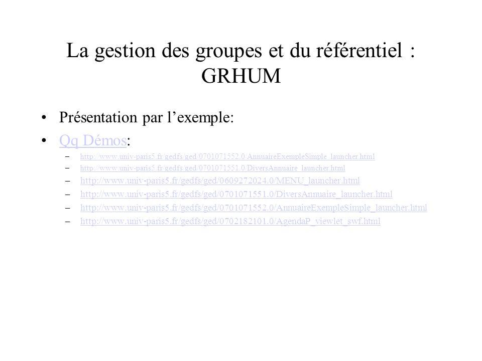 La gestion des groupes et du référentiel : GRHUM Présentation par lexemple: Qq Démos:Qq Démos –http://www.univ-paris5.fr/gedfs/ged/0701071552.0/AnnuaireExempleSimple_launcher.htmlhttp://www.univ-paris5.fr/gedfs/ged/0701071552.0/AnnuaireExempleSimple_launcher.html –http://www.univ-paris5.fr/gedfs/ged/0701071551.0/DiversAnnuaire_launcher.htmlhttp://www.univ-paris5.fr/gedfs/ged/0701071551.0/DiversAnnuaire_launcher.html –http://www.univ-paris5.fr/gedfs/ged/0609272024.0/MENU_launcher.htmlhttp://www.univ-paris5.fr/gedfs/ged/0609272024.0/MENU_launcher.html –http://www.univ-paris5.fr/gedfs/ged/0701071551.0/DiversAnnuaire_launcher.htmlhttp://www.univ-paris5.fr/gedfs/ged/0701071551.0/DiversAnnuaire_launcher.html –http://www.univ-paris5.fr/gedfs/ged/0701071552.0/AnnuaireExempleSimple_launcher.htmlhttp://www.univ-paris5.fr/gedfs/ged/0701071552.0/AnnuaireExempleSimple_launcher.html –http://www.univ-paris5.fr/gedfs/ged/0702182101.0/AgendaP_viewlet_swf.htmlhttp://www.univ-paris5.fr/gedfs/ged/0702182101.0/AgendaP_viewlet_swf.html