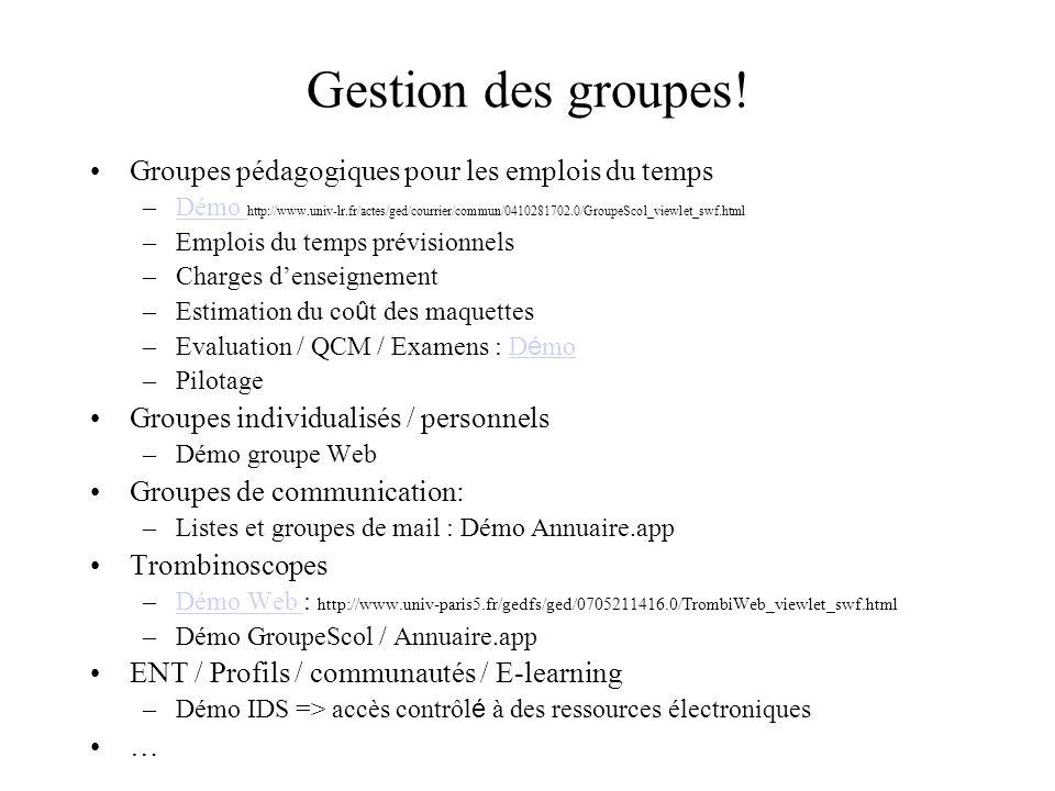 Gestion des groupes! Groupes pédagogiques pour les emplois du temps –Démo http://www.univ-lr.fr/actes/ged/courrier/commun/0410281702.0/GroupeScol_view