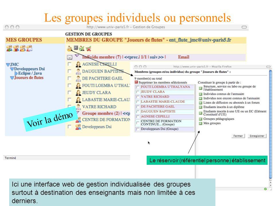 Ici une interface web de gestion individualisée des groupes surtout à destination des enseignants mais non limitée à ces derniers.
