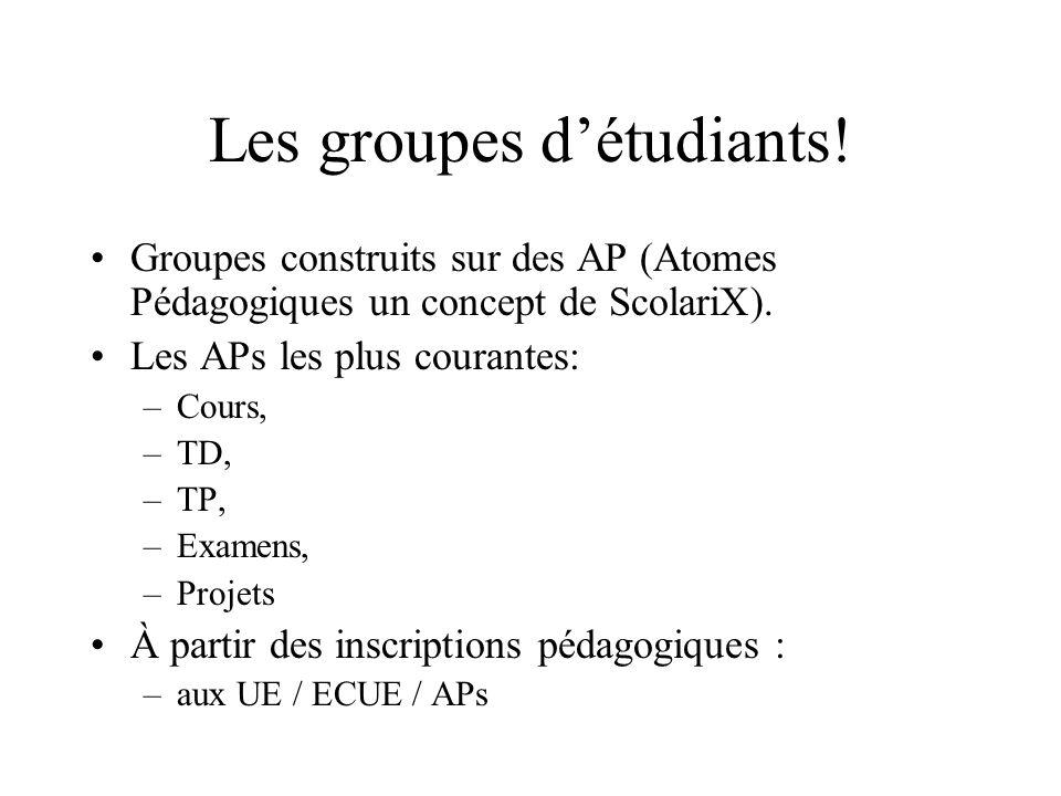 Les groupes détudiants! Groupes construits sur des AP (Atomes Pédagogiques un concept de ScolariX). Les APs les plus courantes: –Cours, –TD, –TP, –Exa
