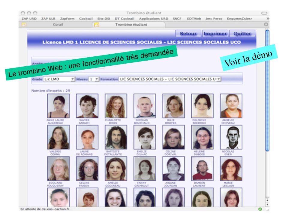 Le trombino Web : une fonctionnalité très demandée Voir la démo