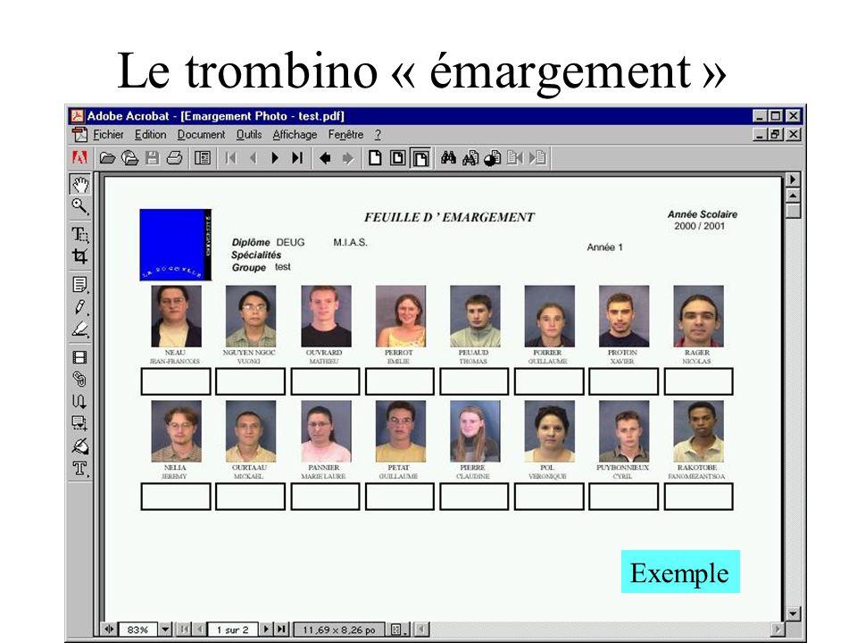 Le trombino « émargement » Exemple