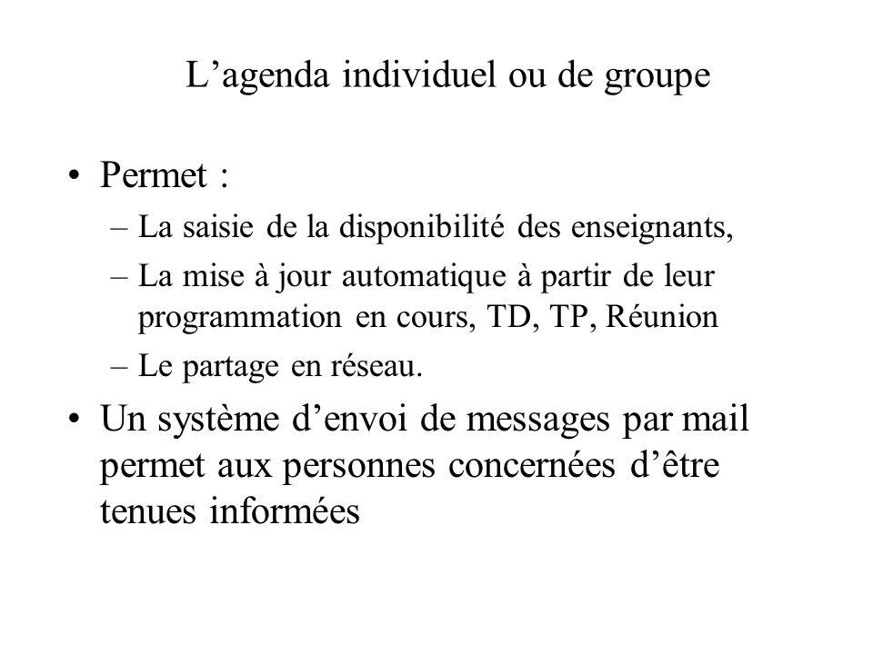 Lagenda individuel ou de groupe Permet : –La saisie de la disponibilité des enseignants, –La mise à jour automatique à partir de leur programmation en cours, TD, TP, Réunion –Le partage en réseau.