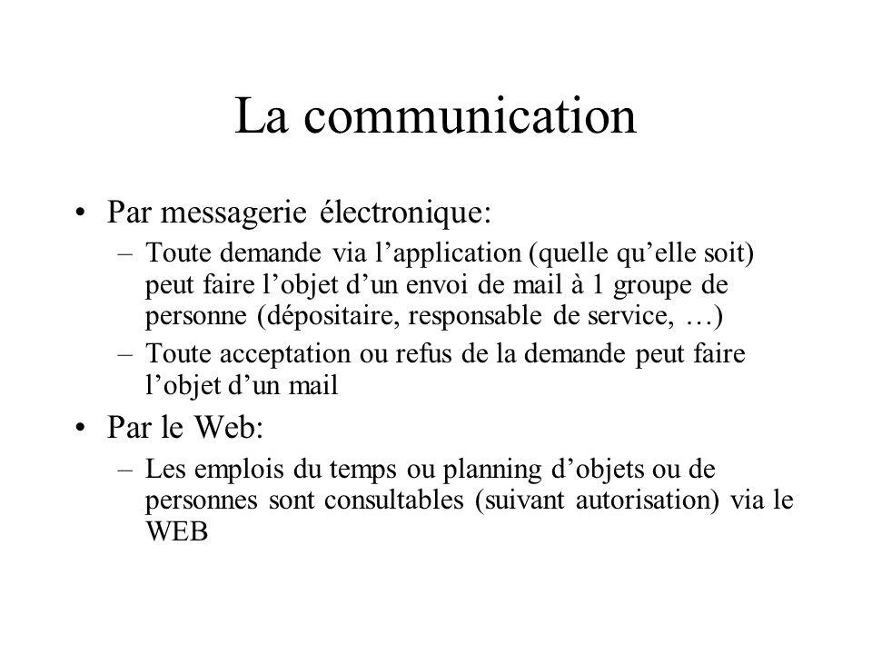 La communication Par messagerie électronique: –Toute demande via lapplication (quelle quelle soit) peut faire lobjet dun envoi de mail à 1 groupe de p