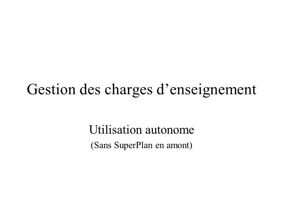 Gestion des charges denseignement Utilisation autonome (Sans SuperPlan en amont)