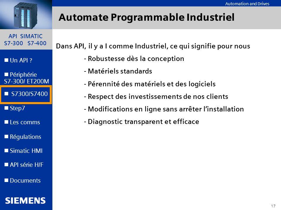 API SIMATIC S7-300 S7-400 16 Automation and Drives Un API ? Step7 Périphérie S7-300/ ET200M Documents S7300/S7400 Simatic HMI API série H/F Les comms