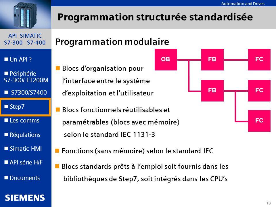 API SIMATIC S7-300 S7-400 17 Automation and Drives Un API ? Step7 Périphérie S7-300/ ET200M Documents S7300/S7400 Simatic HMI API série H/F Les comms