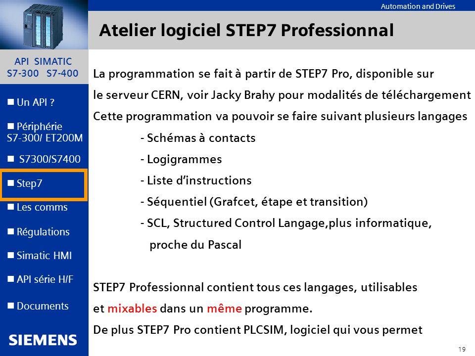 API SIMATIC S7-300 S7-400 18 Automation and Drives Un API ? Step7 Périphérie S7-300/ ET200M Documents S7300/S7400 Simatic HMI API série H/F Les comms
