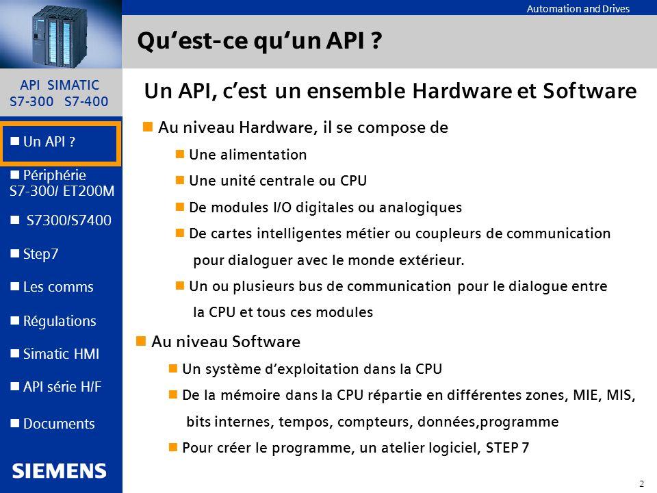 API SIMATIC S7-300 S7-400 1 Automation and Drives Un API ? Step7 Périphérie S7-300/ ET200M Documents S7300/S7400 Simatic HMI API série H/F Les comms R