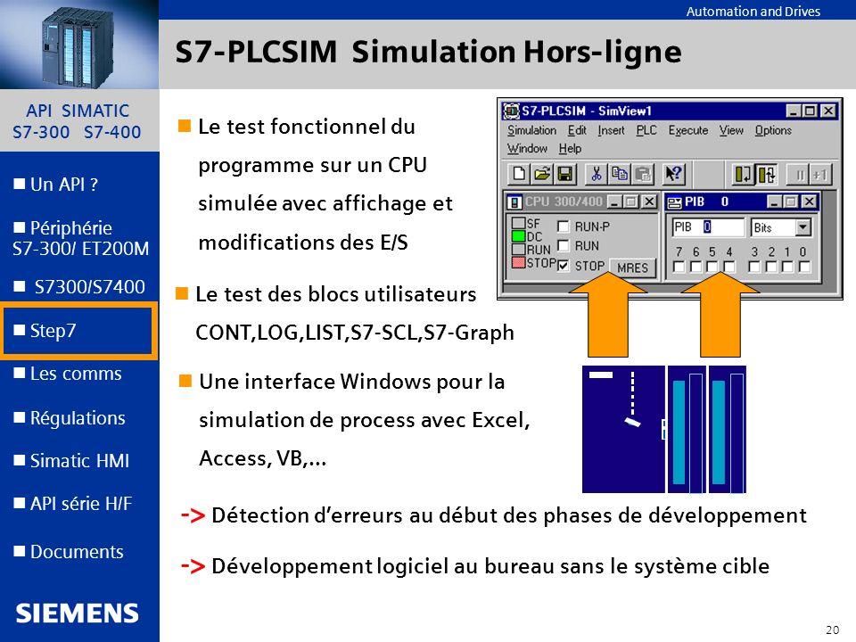 API SIMATIC S7-300 S7-400 19 Automation and Drives Un API ? Step7 Périphérie S7-300/ ET200M Documents S7300/S7400 Simatic HMI API série H/F Les comms