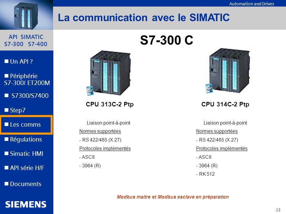 API SIMATIC S7-300 S7-400 22 Automation and Drives Un API ? Step7 Périphérie S7-300/ ET200M Documents S7300/S7400 Simatic HMI API série H/F Les comms