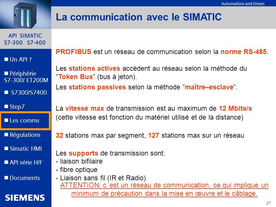 API SIMATIC S7-300 S7-400 26 Automation and Drives Un API ? Step7 Périphérie S7-300/ ET200M Documents S7300/S7400 Simatic HMI API série H/F Les comms