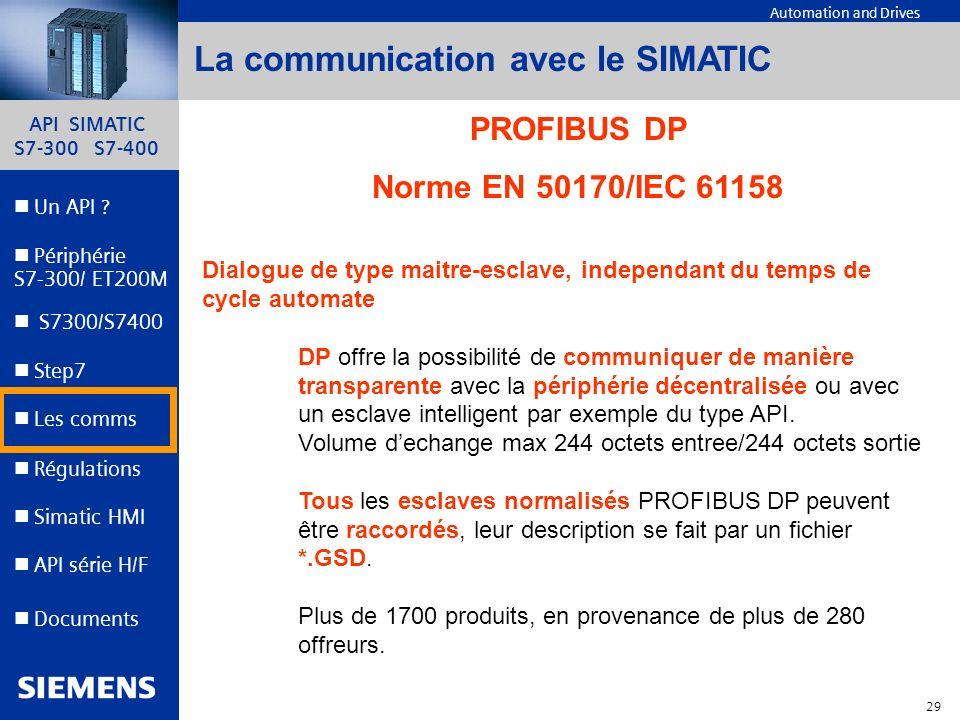 API SIMATIC S7-300 S7-400 28 Automation and Drives Un API ? Step7 Périphérie S7-300/ ET200M Documents S7300/S7400 Simatic HMI API série H/F Les comms