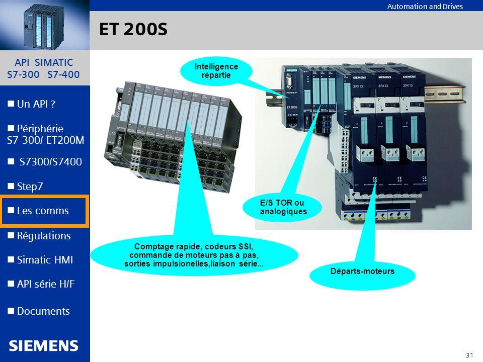 API SIMATIC S7-300 S7-400 30 Automation and Drives Un API ? Step7 Périphérie S7-300/ ET200M Documents S7300/S7400 Simatic HMI API série H/F Les comms