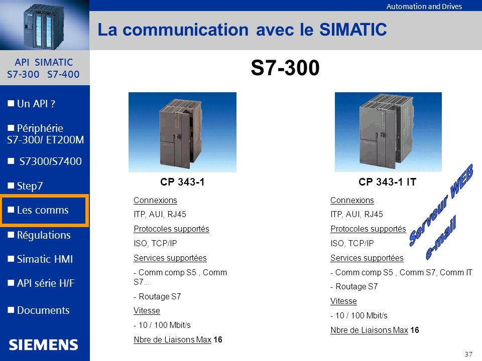 API SIMATIC S7-300 S7-400 36 Automation and Drives Un API ? Step7 Périphérie S7-300/ ET200M Documents S7300/S7400 Simatic HMI API série H/F Les comms