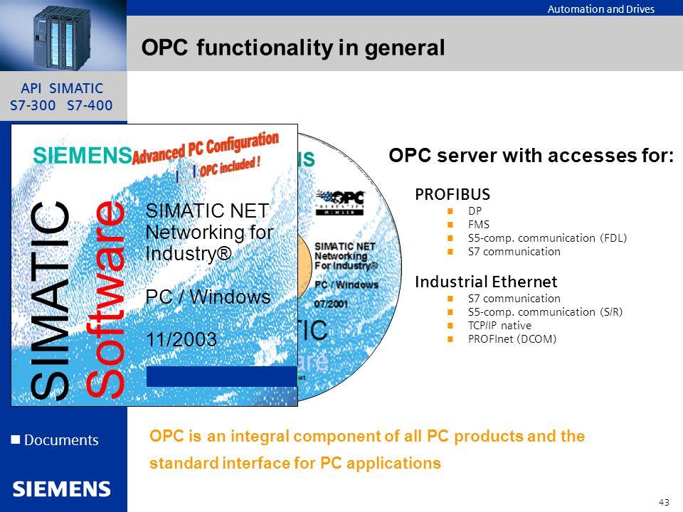 API SIMATIC S7-300 S7-400 42 Automation and Drives Un API ? Step7 Périphérie S7-300/ ET200M Documents S7300/S7400 Simatic HMI API série H/F Les comms