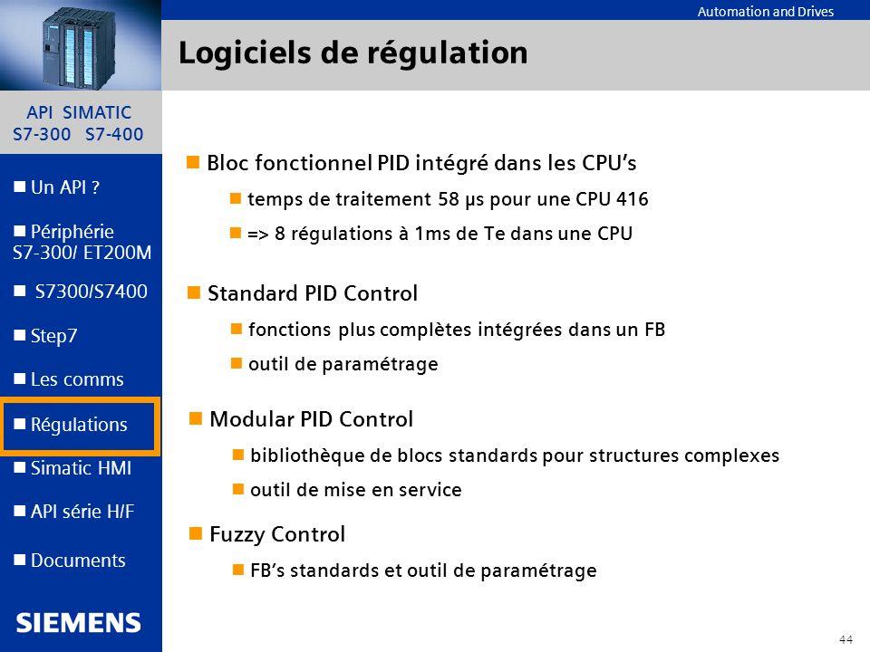 API SIMATIC S7-300 S7-400 43 Automation and Drives Un API ? Step7 Périphérie S7-300/ ET200M Documents S7300/S7400 Simatic HMI API série H/F Les comms