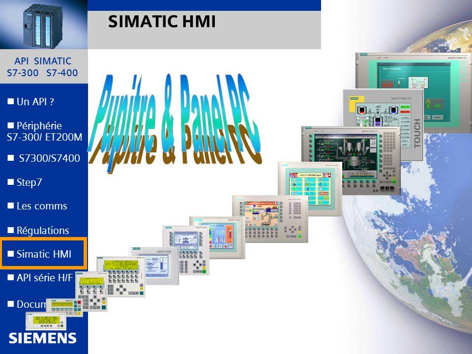 API SIMATIC S7-300 S7-400 44 Automation and Drives Un API ? Step7 Périphérie S7-300/ ET200M Documents S7300/S7400 Simatic HMI API série H/F Les comms