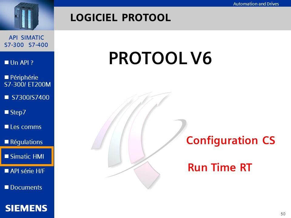API SIMATIC S7-300 S7-400 49 Automation and Drives Un API ? Step7 Périphérie S7-300/ ET200M Documents S7300/S7400 Simatic HMI API série H/F Les comms